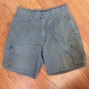 Men's Khaki Green Bogari Shorts, Size 33